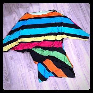 Bright stripes dolman mini dress or top